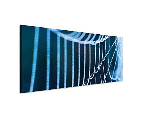 Panoramabild 150x50cm Naturfotografie – Spinnweben mit Morgentau auf Leinwand exklusives Wandbild moderne Fotografie für ihre Wand in vielen Größen