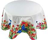 Pflegeleichte Tischdecke Rund 130 cm Tulpen Wiese Butterfly Frühling Sommerdecke Tischtuch Gartentischdecke (Tischtuch Rund 130 cm)