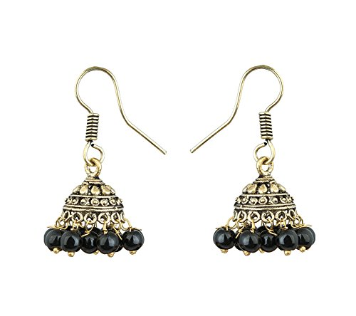 Traditional Festive Collection - Ethnic Golden Jhumki Earrings with hanging coloured pearl for Women by Waama Jewels  available at amazon for Rs.89