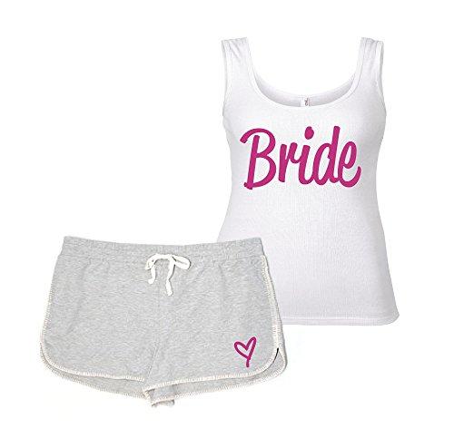 60 Second Makeover Limited Braut Pyjama Set Henne Do Junggesellinnenabschied Hochzeit Pj Hausanzug Lounge Wear Grau und Weiß - Schwarz, X Large (UK 16)