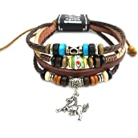 Agathe Creation–Braccialetto tibetano portafortuna–Cuoio, canapa e perle di legno, metallo