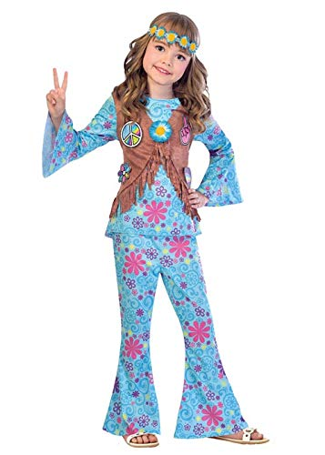 Kind Jahre 60er Kostüm - Flower Power Hippie - 60er Jahre Hippie Kostüm Kinder Mädchen Amscan