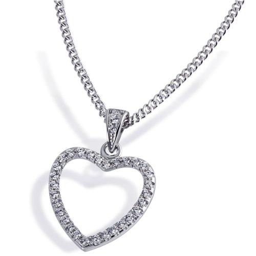 Goldmaid Damen-Halskette 925 Sterlingsilber 33 weiße Zirkonia Kettenanhänger Schmuck