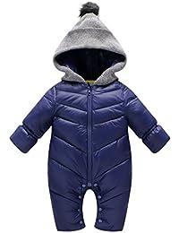 Traje de Nieve Bebé Vine Peleles Invierno Mameluco Niño Monos Body con Capucha Cremallera Frontal