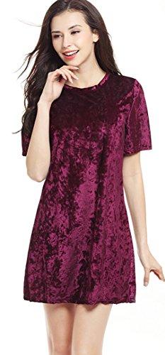 La Vogue Robe Mode Manche Courte Femme Col Rond Trapèze Tunique Uni Casual Rouge