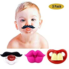 Funny Baby Mustache Pacifiers, Maberry Soft Silicone Cute Pacifier Design with Kiss Lip, Funny Teeth, Gentleman Mustache for Newborn Infant Toddler, Perfect Baby Shower Gift for Boys Girls - BPA Free