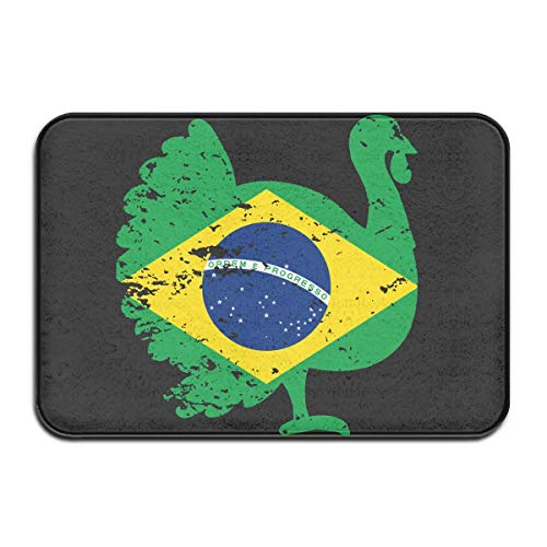 Non Slip Door Mat Outdoor,Indoor/Outdoor Decorative Washable Garden Office Door Mat with Non Slip Backing Inside & Outside Fußabtreter Patriotic Turkey Brazil Flag Design Pattern for Front Porch -