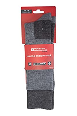 Mountain Warehouse Merino Explorer Thermal Socks - Smooth Toe Seam Boot Socks, Fully Padded Running Socks, Antibacterial Wool Socks, Non Grip Welt - for Cold Weather
