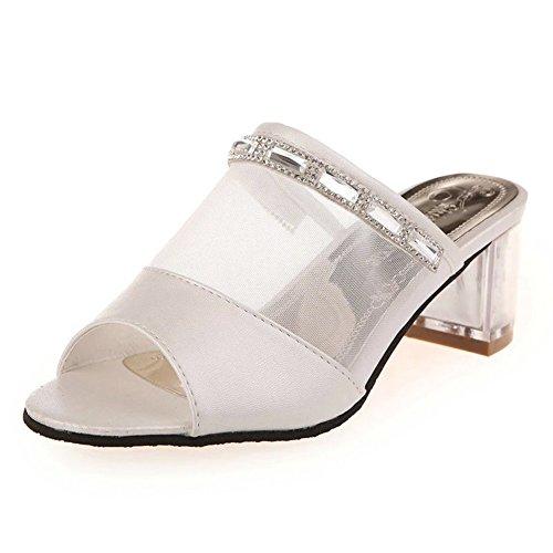 Primavera/estate moda signora peep-toe pantofole/tanga trasparente netto/pantofole chunky tacchi A