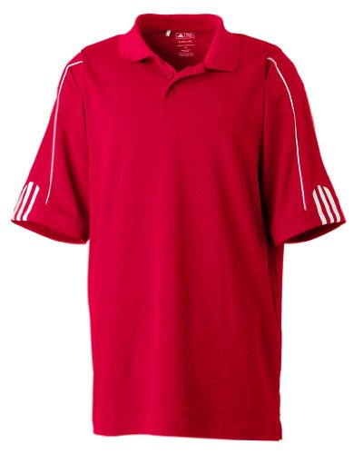 adidas Golf Mens Climalite 3-Stripes Cuff Polo (A76) -P0WER RED/ -3XL - Open Back Knit Kleid