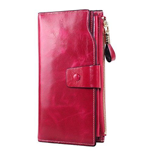 GDTK Grande capacité de cire de luxe en cuir véritable Portefeuille femme avec fermeture éclair de poche (Rosé)