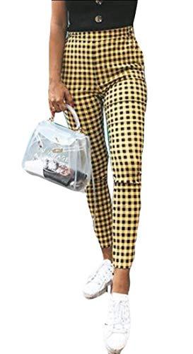 dahuo - Pantalones Informales para Mujer, diseño de Cuadros Amarillo Amarillo XL