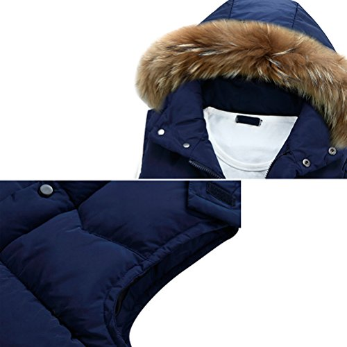 Zhhlaixing Classique Winter Mens Sleeveless Vests Hooded Waistcoat Coats Detachable Hat Dark Blue