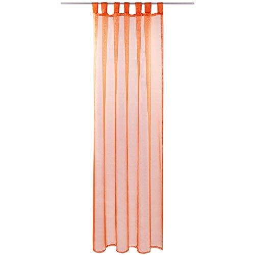 Gardine mit Schlaufen, Transparent Voile 140 x 245cm ( Breite x Länge ) in orange - möhre, Schlaufenschal in vielen weiteren Farben und Größen