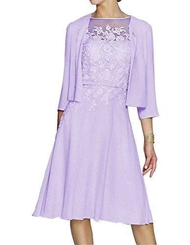 Charmant Damen Pirsisch Spitze Langarm A-linie knielang Abendkleider Ballkleider Festlichkleider Promkleider festlich Lilac