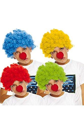 Q04186– Clownsperücke für Kinder– 4verschiedene Farben (Kinder Perücke Blau)