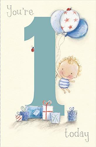 Thinking of you Das Denken an Sie Little Boy mit Luftballons Alter 1 Geburtstags-Karte (1 Luftballons Alter)