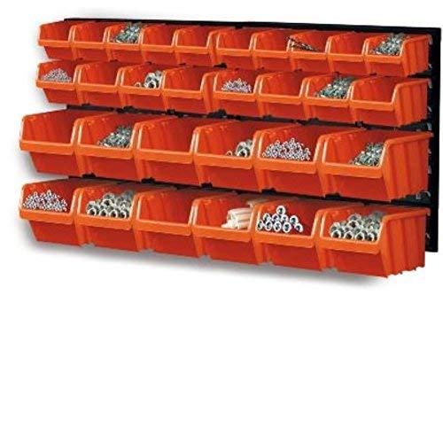 Prosper Plast Mesa de Herramientas con Cajas de Almacenamiento, 32 Elementos, combinación Mural, Color Naranja