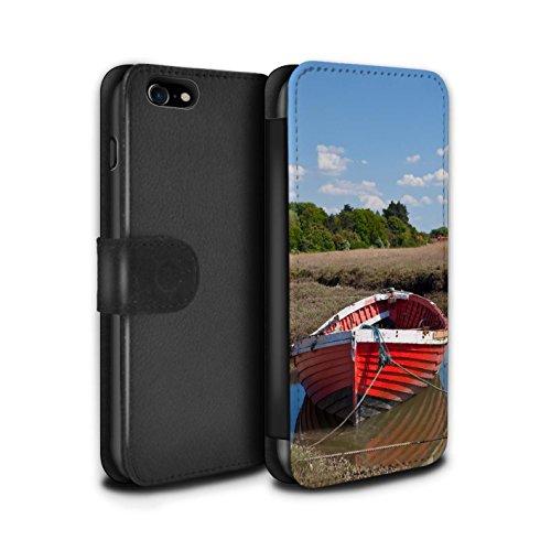 Stuff4 Coque/Etui/Housse Cuir PU Case/Cover pour Apple iPhone 7 / Bateau Bleu Design / Côte de la Colombie Collection Bateau Rouge