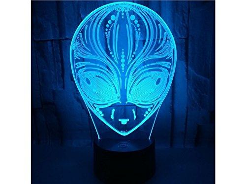 AHIMITSU Dekoratives Licht Alien 3D Optische Täuschung Dekorative Nachtlicht 7 Farbwechsel Touch Tisch Schreibtischlampe USB Powered Lamp Schlafzimmer Dekorative Schlafzimmer Nachtlicht