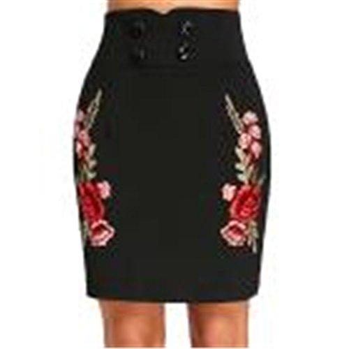 Queensize-betten Kurze (Frauenkleidung JYJM Kleid für Frauen plus Größe Mode lässigHem-Rock Minirock aus SpitzeFrauen hohe Taille Mini kurzen Rock Hem Lace Stitching Rock Bleistift Rock (S, SchwarzA))