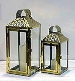 NOOR Handels GmbH Laternen 2er Set Deko-Laterne Metall Gold Kerzenhalter Windlicht mit Tür