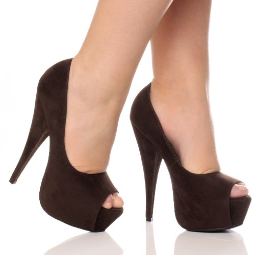Marrom Sapatos De Festa Alto Peep Elegantes Senhoras Salto Camurça Tamanho Fundamentalmente Do Toe Clássico Plataforma Sandálias Saltos nzF6aSf