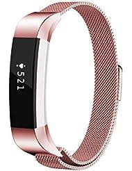 Fitbit Alta / Alta HR Correa,YaFex Banda de Reloj Reemplazo SmartWatch Ajustable con Cierre de Hebilla Magnético Accesorios para Fitbit Alta HR,Oro rosa