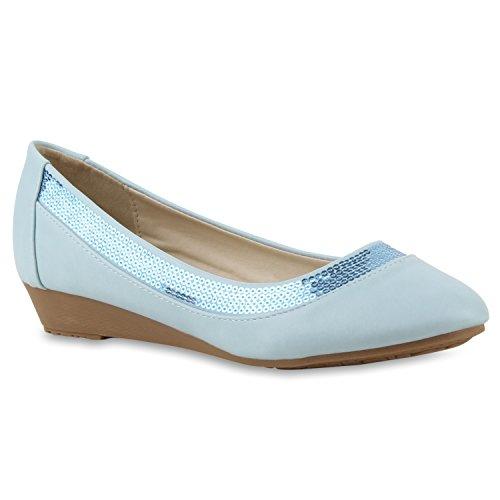 Damen Pumps Lack | Velours Leder-Optik | Strass Keilpumps | Wedges Schuhe Metallic| Party Hochzeit Abiball | Brautschuhe Übergrößen Hellblau Pailletten