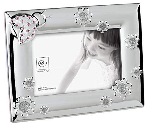 Mascagni Bilderrahmen Einjähriges Kind mit Kristallen Swarovski, Metall, Rosa, 17x 22x 1,5cm