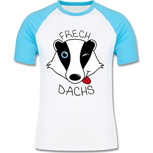 Statement Shirts - Frechdachs - zweifarbiges Baseballshirt für Männer Weiß/Türkis