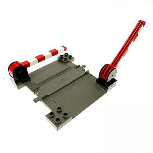 1 x Lego Duplo Bahnübergang dunkel grau mit 2 x Schranke schwarz rot weiss Schiene Eisenbahn Kreuzung 6405 c02 6391