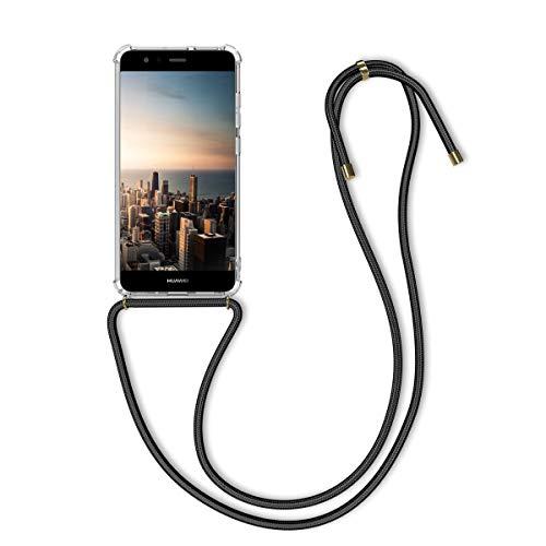 kwmobile Huawei P10 Lite Hülle - mit Kordel zum Umhängen - Silikon Handy Schutzhülle für Huawei P10 Lite - Transparent