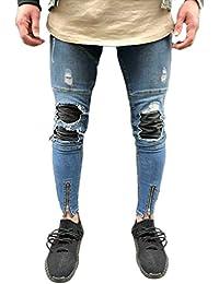 Yonglan Hombre Skinny Jeans bordados de Parche denim Elásticos Pantalones Agujero jeans As Picture 40 SgZNO4H