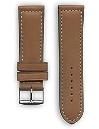 Deportes francés piel con bordado de color blanco: marrón de repuesto correa de reloj–correa de reloj para Samsung Gear S3–Apple reloj inteligente–relojes–conectado relojes–relojes convencionales. Fabricado en Francia