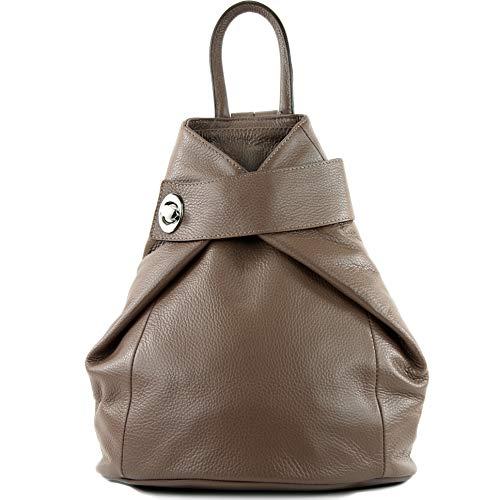 modamoda de - T179 - ital: Damen Rucksack Tasche aus Leder, Farbe:Schlamm -