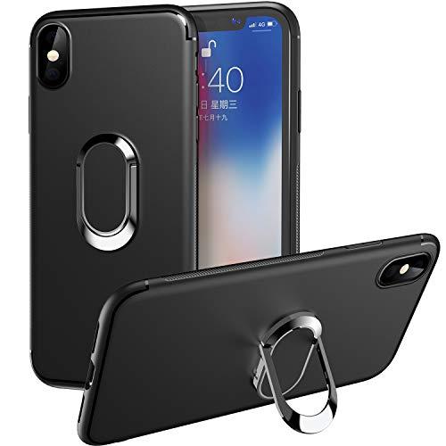 WATACHE Custodia iPhone XS Max,Custodia in TPU Slim Fit con Supporto Girevole per Anello in Metallo con Rotazione a 360 Gradi [Funziona con Supporto Magnetico per Auto] per iPhone XS Max 6.5' -Nero