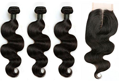 blisshair Virgin capelli umani estensioni con pizzo chiusura 8,9x 10,2cm Body Wave