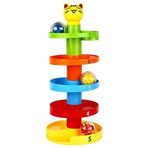 Peradix Strudel Kugelbahn pädagogisches Spielzeug Puzzle Rolling Ball mit 5 Stapel 3 Kugeln für Kinder ab 9 Monate