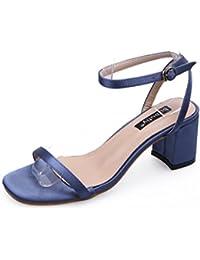 Guopin Summer Square Toe Schuhe - Satin Gesicht Schuhe - Party High Heel Sandaletten