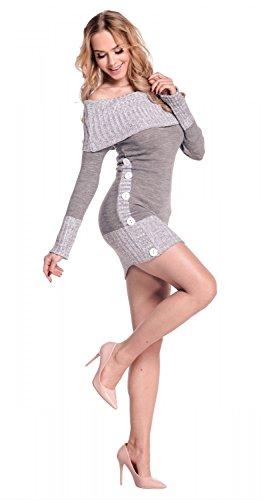 Glamour Empire Sexy Chaud Tricot Dames Pull Cavalier Robe Tunique Haut 913 Gris