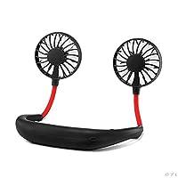 MULOVE Hand Free Personal Neckband Fan - Headphone Design Wearable Portable USB Rechargeable Neckband Mini Fan (Black)