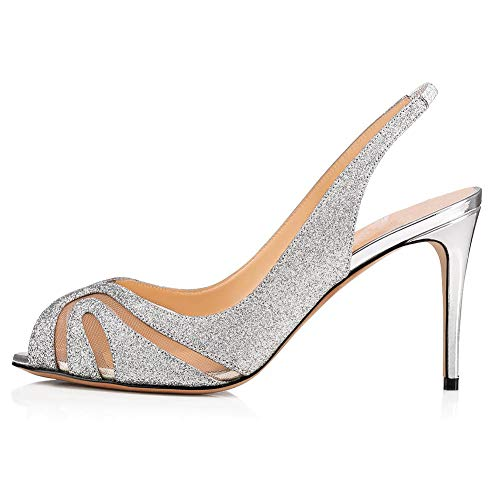 Damen Sexy Stiletto Open Toe High Heel,MWOOOK-486 Sandaletten Klub Party Freizeit Hochzeit Abendschuhe Shoes,Silver,43 Sexy High Heel Shoes Com