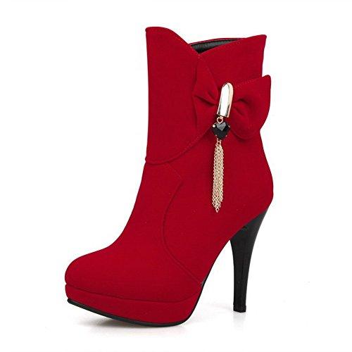 AllhqFashion Damen Mattglasbirne Rein Niedrig-Spitze Hoher Absatz Stiefel, Rot, 33