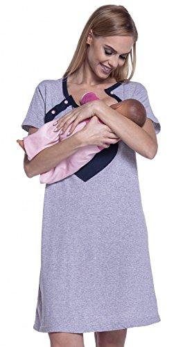 Happy Mama. Femme Maternité Chemise de Nuit Nuisette Grossesse Allaitement. 873p Marine