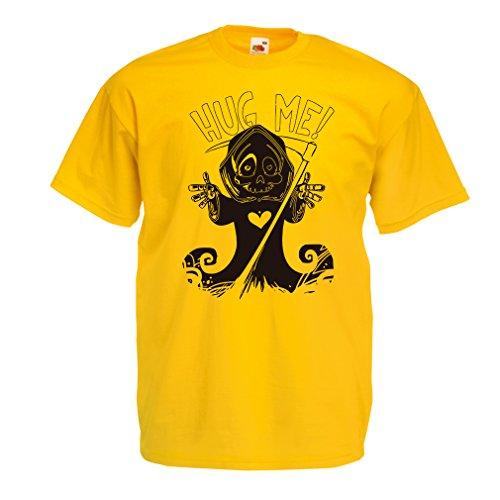 Kostüm Der Rex (Männer T-Shirt Der Tod kommt! Halloween Skelett Kleidung, böse Schädel Sichel (Large Gelb)