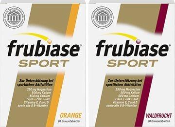 Frubiase Sport Orange Spar-Set 2x240g (40 Brausetabletten). Zur Unterstützung bei sportlichen Aktivitäten. Mit Magnesium, Kalium, Calcium, Eisen, Zink, Jod, Vitamin E, C, D3 und allen 8 B-Vitaminen. In Zusammenarbeit mit der deutschen Sporthochschule Köln entwickelt. Laktose-, gluten- und zuckerfrei. (Brausetabletten Trinken)