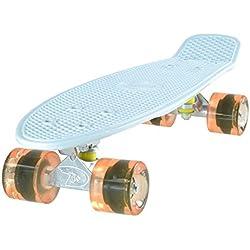 LAND SURFER® Skateboard Cruiser Retro Completo 56cm – cojinetes ABEC-7 – Ruedas transparentes o coloreadas 59mm PU + bolsa para el transporte - Tabla Blanca/Ruedas Naranjas Transparentes