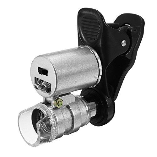 ILS - Professionelle Mini 60x LED UV Licht Tasche Mikroskop Juwelier Lupe Lupe LED Licht (Tasche Clip-schraubendreher-set)