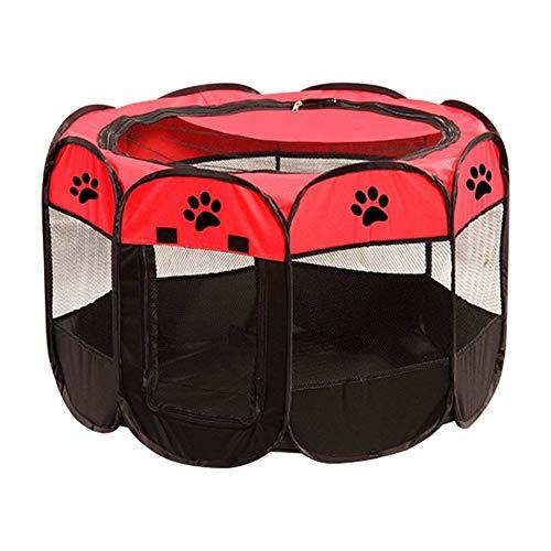 Hundehütte Haustierzelt Faltbarer Hundehütte Oxford Tuch Wasserdichter Käfig, Indoor Hundekäfig Outdoor Zaun (Farbe: Blau, Größe: 73 × 43 cm) (Farbe : Red, Größe : 73×43cm)